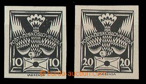 24318 - 1920 PLATE PROOF 2 pcs of black-prints 10h and 20h/I.typ, ch