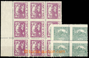 24360 -  Pof.2, 3h violet, blk-of-9 with omitted vertical also horiz