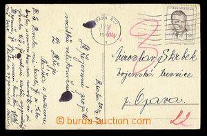 24390 - 1951 postcard addressed to to military prison, MC Prague 23.