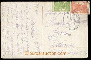 24421 - 1920 pohlednice vyfr. zn. Pof.6, 7, známky přehnuté dozad