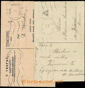 24427 - 1918 printed matter and postcard  paid/franked franked. post