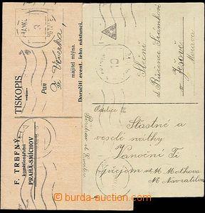 24427 - 1918 tiskopis a pohlednice  vyplacené frank. razítkem Prah