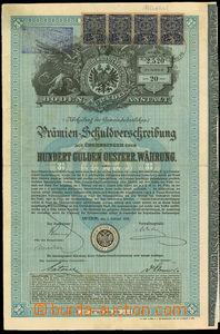 24466 - 1889 Austria  100 guldenová  share Premien - Schuldverschre