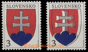 24493 - 1993 Zsf.2, Coat of arms, shift red and blue color