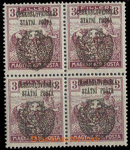24553 - 1918 Skalický přetisk 4-blok Ženci 3f, Pof.RV120, kat. 1600