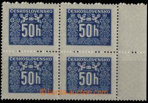 24570 - 1946 Pof.D69, 50h ve 4-bloku s okrajem, pergamenový papír,