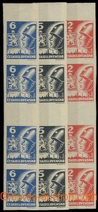 24572 - 1945 Košice-issue vertical 4 stamp. gutter, Pof.Ms354-356,