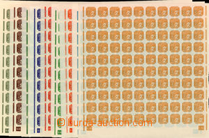 24600 - 1943 issue II., complete set of in 100 stamps sheets with pl