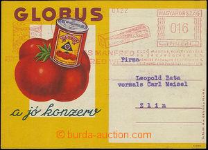 24625 - 1939 MAĎARSKO  barevný firemní lístek Globus s frankotyp