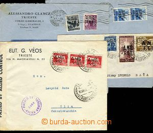 24649 - 1946 - 48 3 pcs of commercial letters and 1 cut-square frank