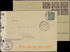 24668 - 1947 BIZONIE  2 pcs of letters to Czechoslovakia, franked wi