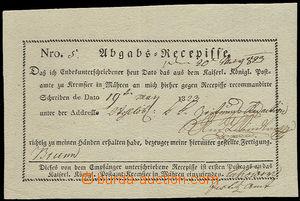 24692 - 1823 tištěný recepis - Postamt Kremsier in Mähren, bezva