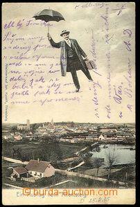 24742 - 1905 ALLENTSTEIG - koláž s deštníkem nad městem, celkov