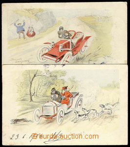 24766 - 1904 2 pcs of Ppc with motive of car - funny, post. Us, sign