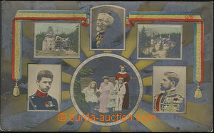 24803 - 1911 Romania, royal family with views sídel, colored photo