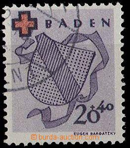 24807 - 1949 BADEN Red Cross, Mi.43A, light postmark, exp. Schlegel
