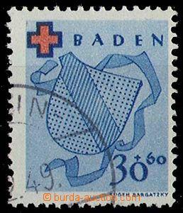 24809 - 1949 BADEN Red Cross, Mi.44A, light postmark, exp. Schlegel