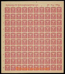 24879 - 1944 Germany  complete sheet ration stamp. for war damaged B