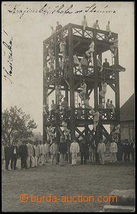 24883 -  Firemen  photo postcard, firemen on/for cvičné tower - te
