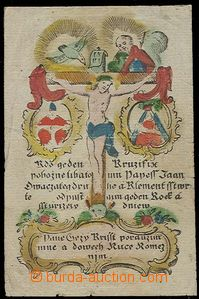 24891 - 1750 - 90? by hand coloured St. picture - Christ on/for cros