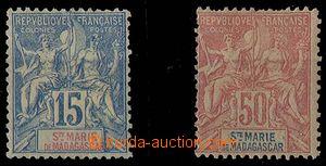 24967 - 1894 Ste. MARIE de MADAGASCAR, Mi.6, 11, Alegorie, nálepky,