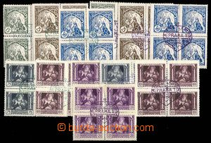 24998 -  Pof.27-32, complete set in blocks of four, with forgeries a