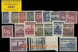 25052 - 1939 Pof.1-19, complete overprint line, 6 values incl. 10CZK