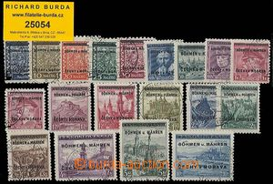 25054 - 1939 Pof.1-19, complete overprint set, 18 stamps CDS Konopi�