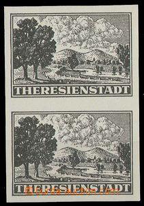 25061 - 1943 Terezín, svislá dvoupáska z padělku propagačního