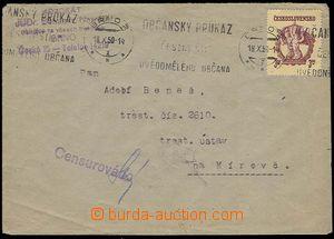 25153 - 1950 Mírov - letter sent to prisoner, MC Brno 18.X.50 + cen