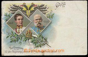 25177 - 1898 Franz Joseph  anniv. dvojportrét with eagle, color lit