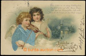 25178 - 1901 angels, color embossed lithography, long address, Us, g