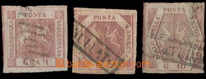 25201 - 1858 Mi.2, 3, 5, extraordinary margins, No.3 to examination,