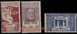25206 - 1922 Mi.157 - 159 Mazzini, complete set., hinge / label, c.v