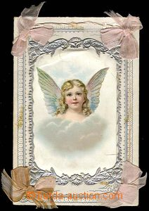 25253 - 1900? decorated envelope on/for communion., angel, good cond