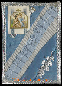 25255 - 1900? decorated envelope to/at communion., polepená cloth,