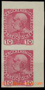 25267 - 1908 imperforated vertical corner double strip Mi.144, mint