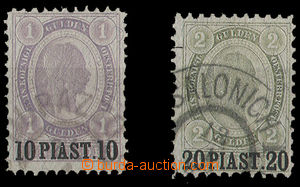 25270 - 1896 LEVANT  Mi.30, 31, overprint 10 and 20 PIASTER, on/for