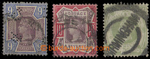 25291 - 1887 Mi.95 - 97, highest value, No.95 with perfin, c.v.. 117