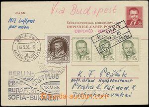 25359 - 1956 CZECHOSLOVAKIA 1945-92  first flight Berlin - Bucharest