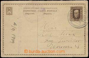 25363 - 1939 CDV34/II.díl, čs. mezinárodní dopisnice jako odpov�