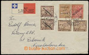 25385 - 1948 letter addressed to to Czechoslovakia, franked by multi
