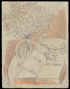 25400 - 1930? exlibris signed Cyril Bouda, book with bunch flowers,