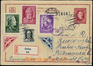 25440 - 1944 CDV7/I. part sent as Registered to Bohemia-Moravia, ric