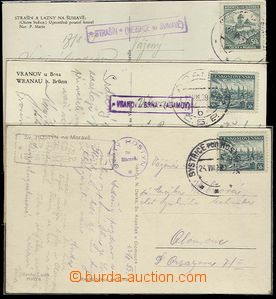 25451 - 1939 3 pcs of Ppc with print forerunner postmarks postal-age