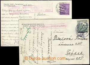 25452 - 1939 2 pcs of Ppc with postmarks Postal Agency PUSTEVNĚ NA