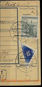25454 - 1939 cut post. order, with 2 Koruna,  Pof.34 and forerunner