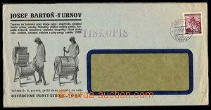 25472 - 1940 okénková obálka s reklamním přítiskem JOSEF BARTO