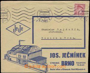 25505 - 1939 reklamní přítisk na obálce Jos. Ječmínek Brno s v