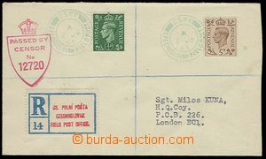25506 - 1944 Reg letter sent by FP in Great Britain, franked with. 1